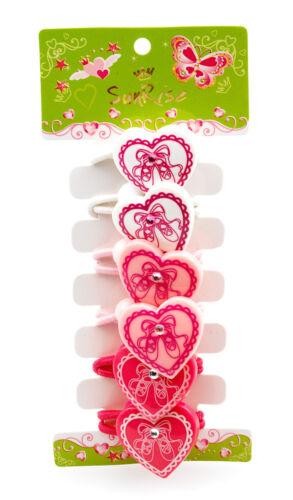 6 Pack Of Girls Pink Heart Jewel Dance Hairbands By Katz Dancewear Gifts HA-04