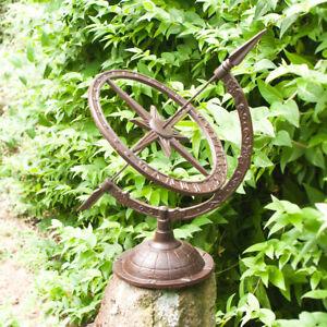 Pfeilerfiguren Sonnenuhr Garten Dekoration Terrasse Gartenuhr im Landhausstil