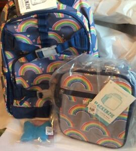 Pottery Barn Set Rainbow Heart Backpack Lunch Box Ice