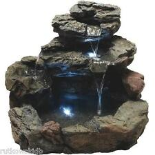 Best Garden 4-Tier Rock Fountain with Water Pump and LED Light