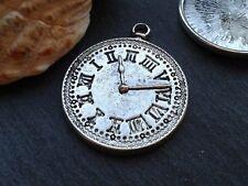 Antique Silver Clock Watch Charms 3pcs D5 Steampunk Vintage Pendants Kitsch