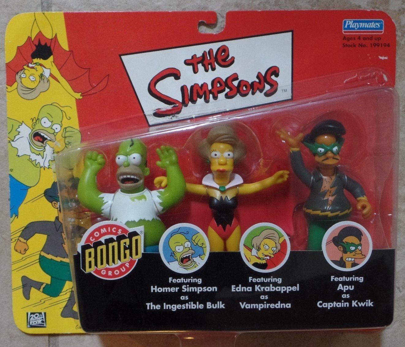 The Simpsons BONGO Superheroes 3 Figure Set Homer Edna Apu New Playmates 2002