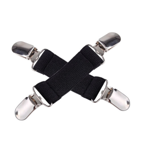2 X Elastic Stretch Dress Clip Bed Sheet Fasteners Strap Cinch Holder Clasp