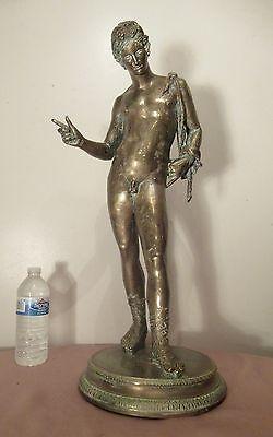 huge antique 1800s Paul Dubois Dionysis Narcissus French bronze statue sculpture