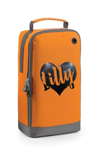 Personalised Glitter Heart Shoe Bag Football Boot School PE Kit Customised Name