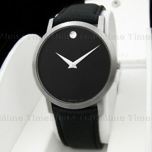 7e5de94888e Men s Movado MUSEUM CLASSIC Black Dial 40mm Leather Swiss Quartz ...