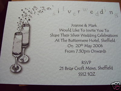 5 Personalised Silver Wedding Anniversary Invites Champ Ebay