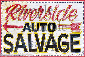 Riverside Auto Salvage >> Riverside Auto Salvage Weathered Building Sign Decal 3x2 More Sizes