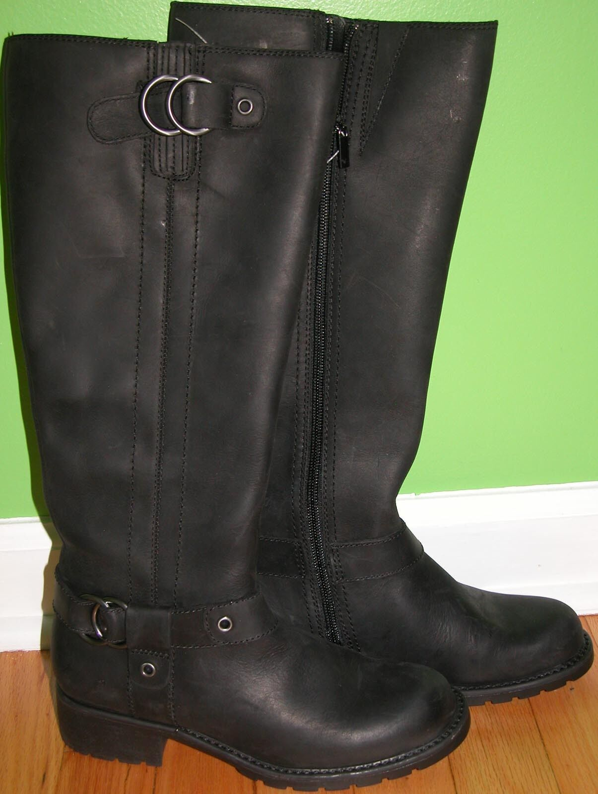 CLARKS 60939 ORINOCCO STEP WOMEN'S LEATHER OILED RIDING BOOTS BLACK SIZE 6.5 M