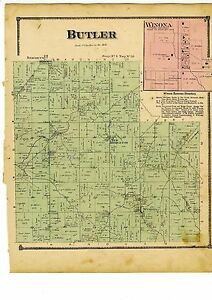 1870 Map Of Butler Ohio With Family Names From Atlas Of