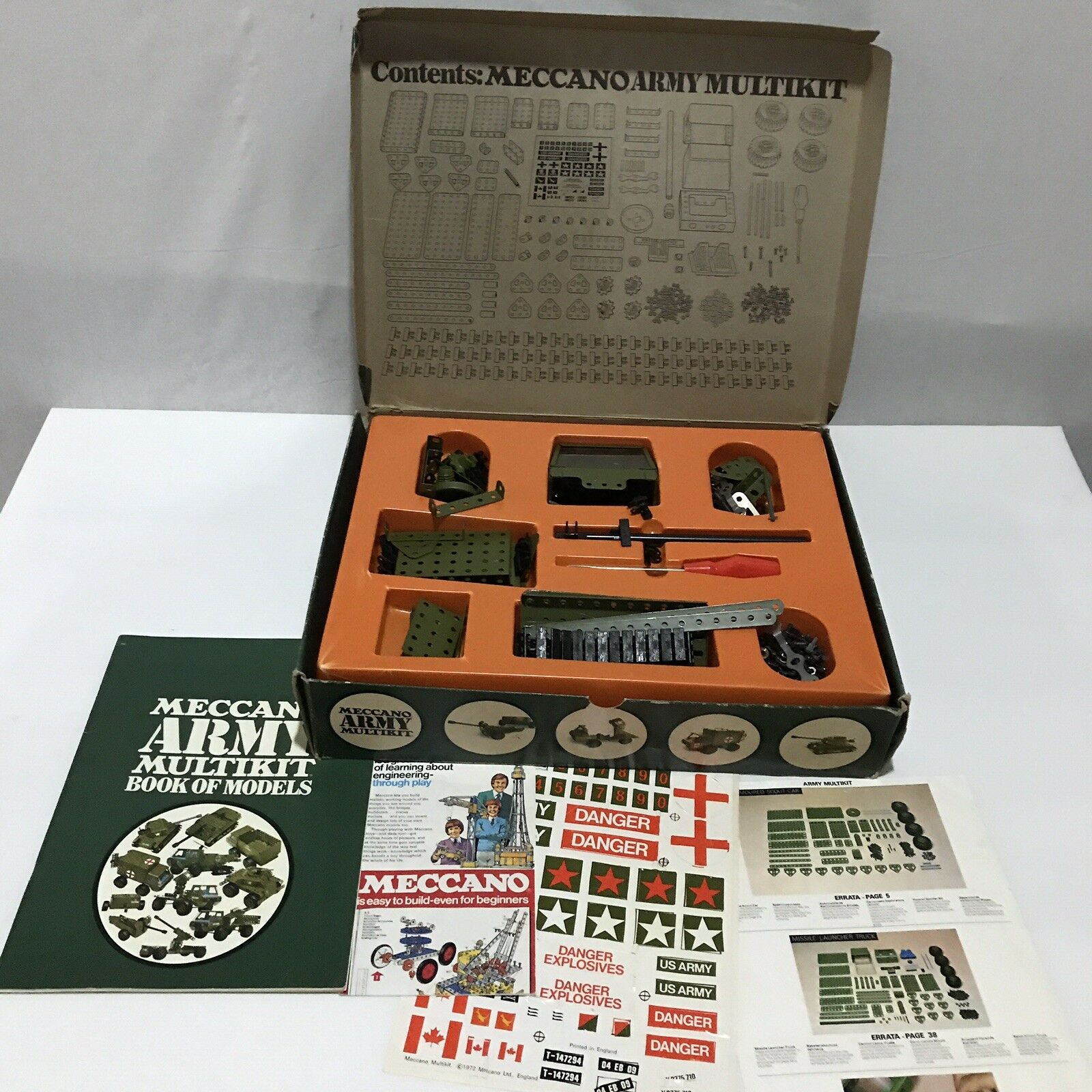 Vintage Meccano Army Multikit Set 10 Different Models Box