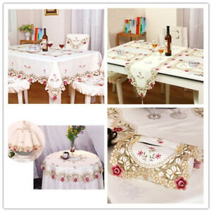 White-Embroidered-Lace-Table-Runner-Doilies-Table-Cover-Mats-Floral-Tablecloth