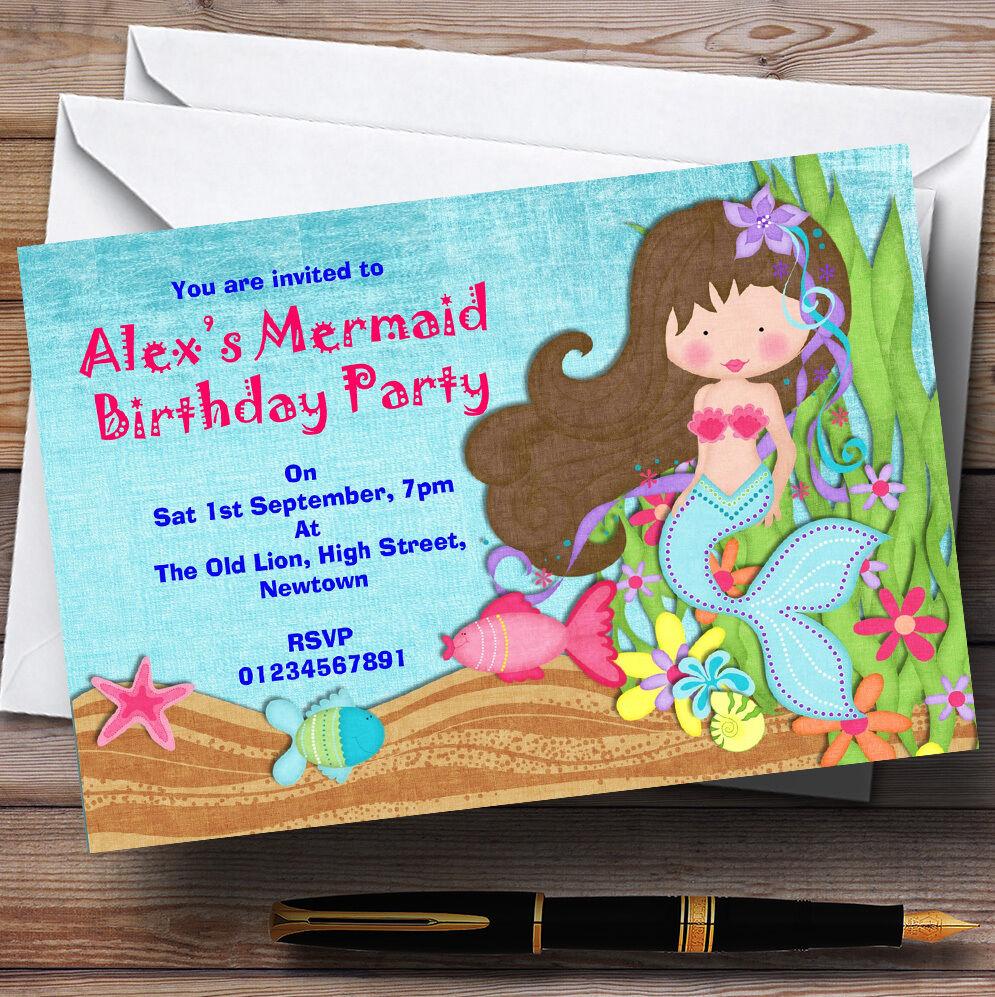 Pretty Mermaid Theme Personalised Birthday Party Invitations - Th66