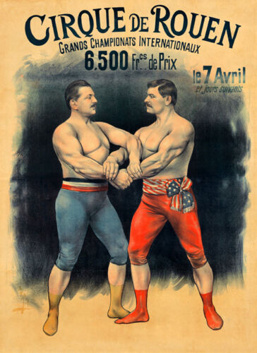 Wrestler Circus Champions of France and America Vintage Poster Repro FREE S/H