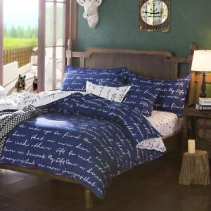 Letter-Printing-Bedding-Set-Duvet-Quilt-Cover-Sheet-Pillow-Case-Four-Piece-Hot