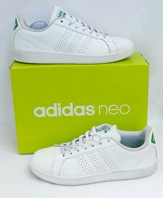 Adidas Neo Cloudfoam Shoes Advantage Clean Leather White Green Mens Size 8 | eBay