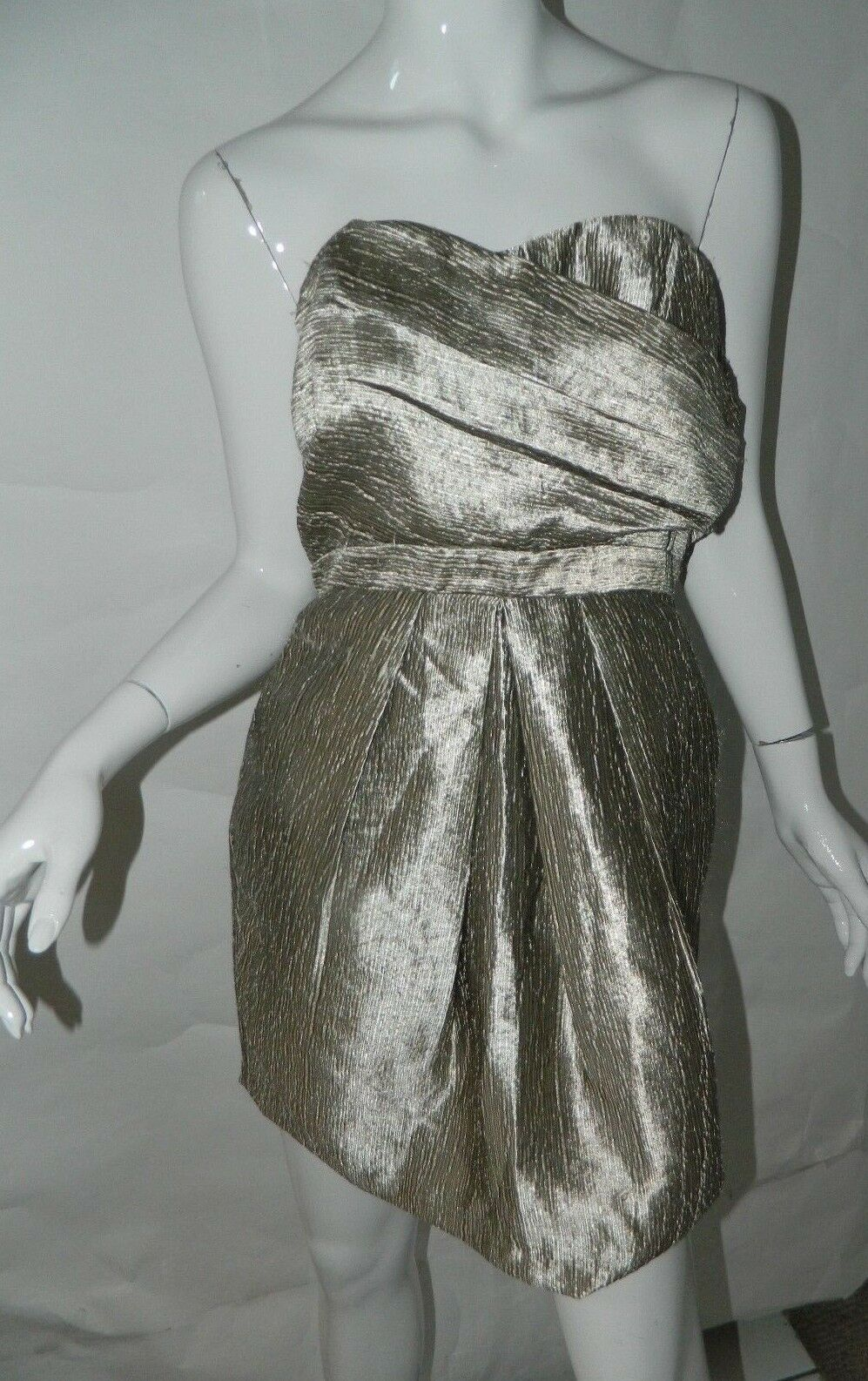 123dfd202a New Greylin Metallic gold Origami Pleated Strapless Mini Dress Holiday  Large nrndhc2969-Dresses