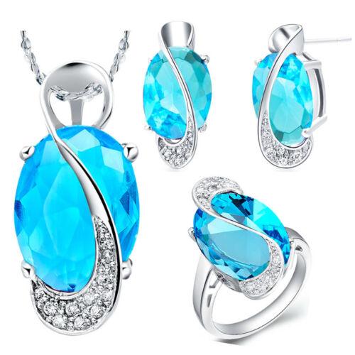 8 Blau Zirkonia Anhänger Ohrringe Schmuckset Silber 925 er pl Ring Gr Kette