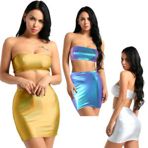 d1d9b19944de0 Women Bodycon 2 Pieces Off Shoulder Crop Top Mini Skirt Set Cocktail ...