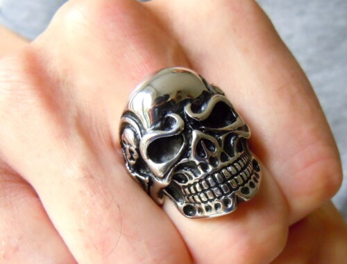 ada0bca21aa0 2 of 5 Men s Gothic Skull Ring - Stainless Steel Rocker Evil Skeleton Biker  Jewelry UK