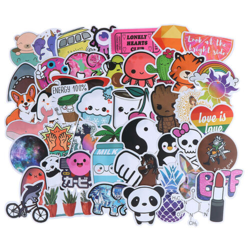50Pcs Cute Cartoon Stickers DIY Laptop Luggage Guitar Bicycle Skateboard Deca PL