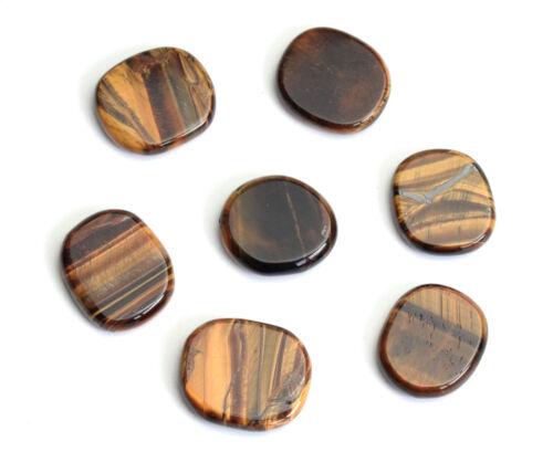 7pcs Natural Chakra Polished Tiger Eye Stone Carved Crystal Healing Palm Stones