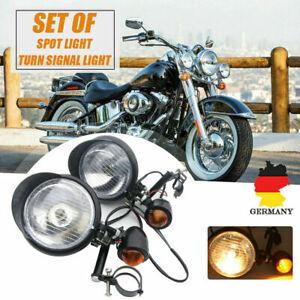 Universal-Schwarz-Motorrad-Nebelscheinwerfer-Blinker-Birne-mit-Gabel-Halterung