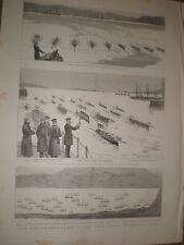 Combined navy fleets Suda Bay Crete rowing regatta 1886 prints ref BW2