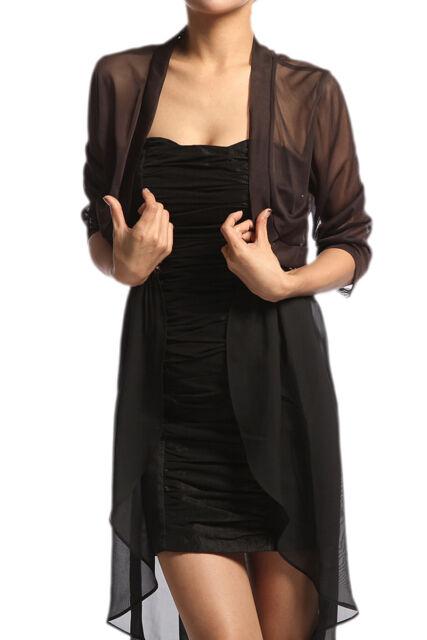 MOGAN Cute Sheer MESH BOLERO SHRUG Dress Layering Vest Cropped Open Cardigan TOP