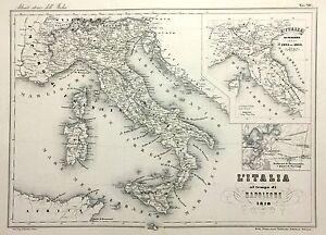 Cartina Italia 1810.1868 Carta Geografica Vallardi Carta D Italia Al Tempo Di Napoleone 1810 Ebay
