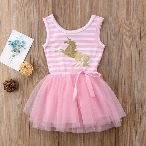 NEW Size 3 Yrs Girls Dress Girls Pink Stripe Glitter Unicorn Tulle Dress