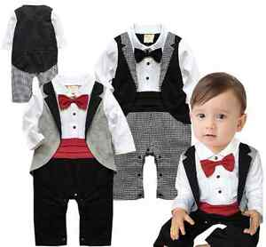 Baby-Boy-Wedding-Dressy-Party-Tuxedo-Waistcoat-Suit-Romper-Outfit-Clothes-3-24M