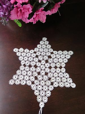 Antique Cypress Cypriot Needle Lace Doily Star Rare Handmade Vtg Example