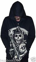 Soa Sons Of Anarchy Grim Reaper Men's Black Zippered Hoodie Sweatshirt Soa90
