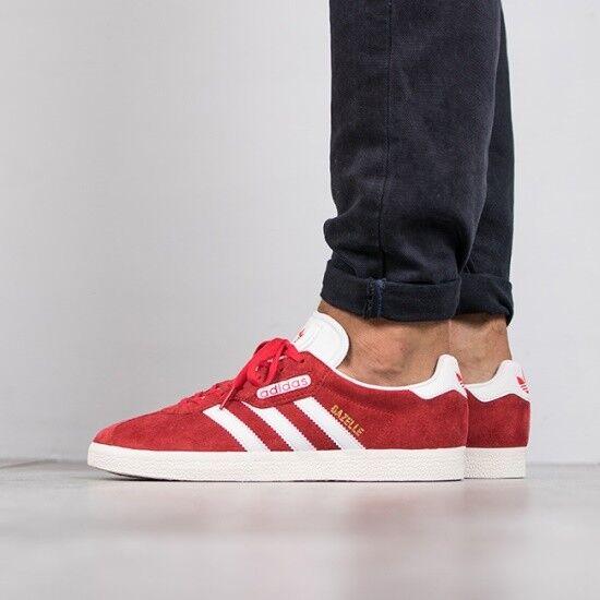 Adidas Originals Gazelle RedWhiteGold Suede Men's Trainers Shoes 9_9.5_10.5_11