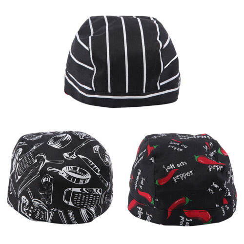 3pcs Chefs Skull Hat Professional Catering Do Tie Chef Cap Food+Cook