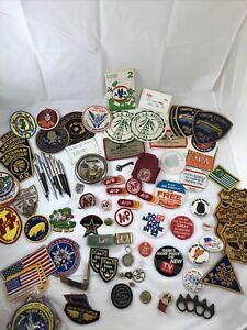 Vintage Grandpas Estate Junk Drawer Lot Police Patches NRA Pens A&P Random LOOK!