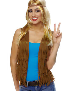 9e1091e171cac5 Das Bild wird geladen Braun-Fransen-Damen-Erwachsene-60s-Jahre-Hippie-Weste-