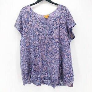 Sakkas-Womens-Blouse-Purple-Splatter-Cap-Sleeve-Scoop-Neck-Lace-Trim-Free-Size