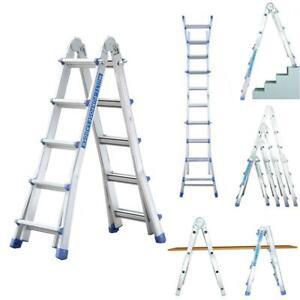 de pintor Escalera multifuncional profesional de 8-20 escalones de Worktekk de aluminio plegable