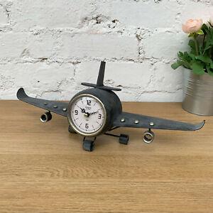 Antique-Vintage-Retro-Home-Aeroplane-Plane-Floating-Metal-Wall-Clock-Decoration