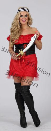 Caribbean Pirate signore Costume BUCCANEER Hen Party Da Donna Costume Vestito L