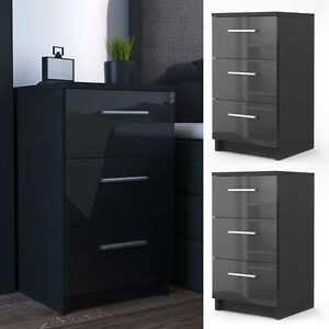 nachtkommode f r boxspringbett 2er set nachtschrank nachttisch schwarz hochglanz ebay. Black Bedroom Furniture Sets. Home Design Ideas