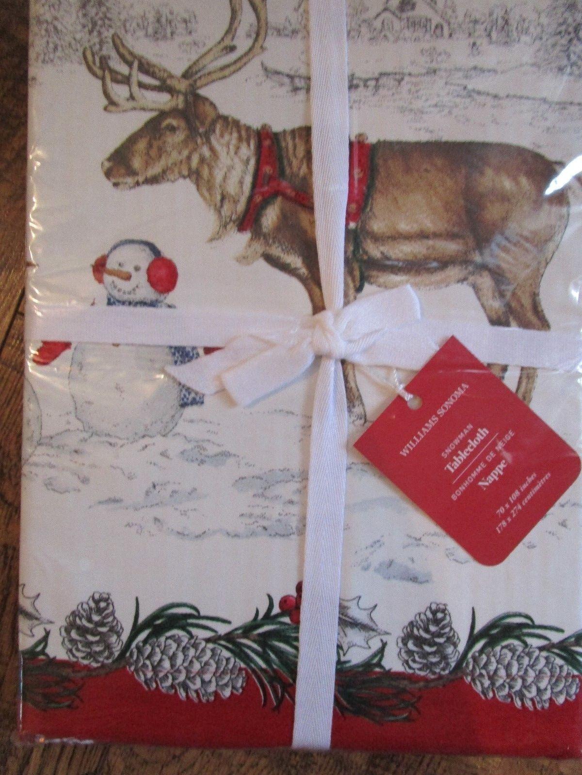 En parfait état, sous emballage Williams-Sonoma Bonhomme De Neige Renne Fox Nappe 70 X 108  avec Cottage