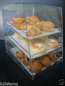 Acrylic-Pastry-Bakery-Donut-CUPCAKE-Stand-Display-Case-with-3-trays
