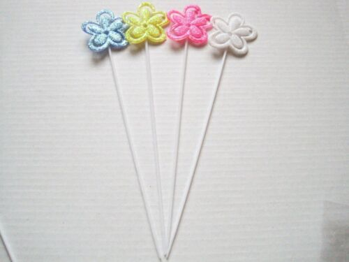 """Floral Picks Pk//12 FLOWERS Glittered Card Holders Assorted Colors 11/"""" NEW!"""