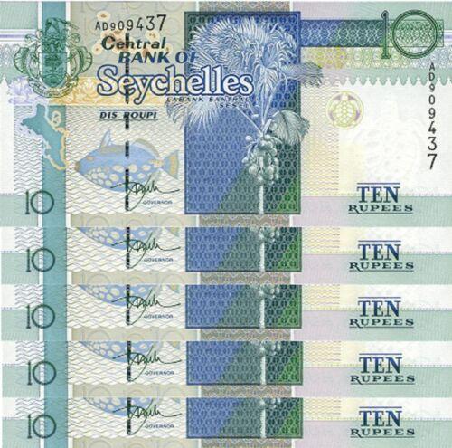 SEYCHELLES 10 RUPEES 1998 UNC  P.36a PREFIX AD LOT OF 5 PCS