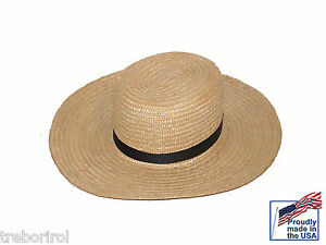 New-Authentic-Amish-Straw-Hat-size-7-1-2-USA-Made