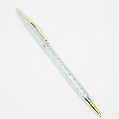 UK SOLD! NEW JINHAO #310 CHISELLED CHROME//GOLD PLATED BALLPOINT PEN SET 8513