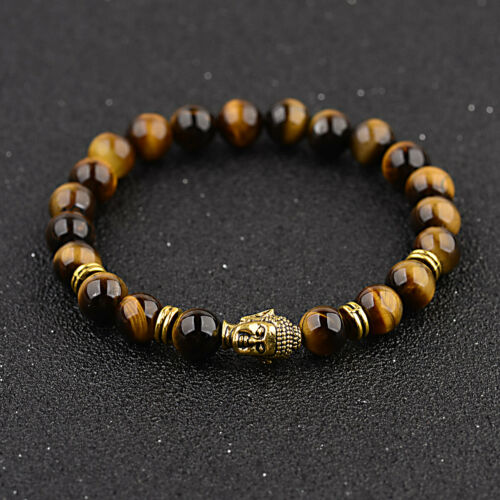 Natural Gold Silver Buddha Obsidian Carved Buddha Lucky Amulet Beads Bracelets